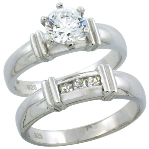 Sterling Silver 2-Piece Channel Set Princess Engagement Ring Set CZ Stones Rhodium finish, 3/16 in. 5 mm, Size 5
