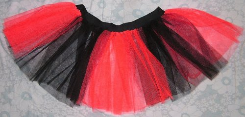 Red Black Tutu Skirt Stripe Dance Lady Bug Fancy Dress Costume Neon Party