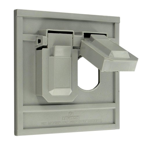 Leviton 4986-Gy 1-Gang Duplex Device Wallplate Cover, Oversize, Weather-Resistant, Thermoplastic, Device Mount, Horizontal, Gray