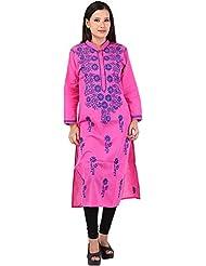 Grishma Collection Women's Cotton Straight Chikankari Kurti( Pink, Xl/42) - B0177HDQA4
