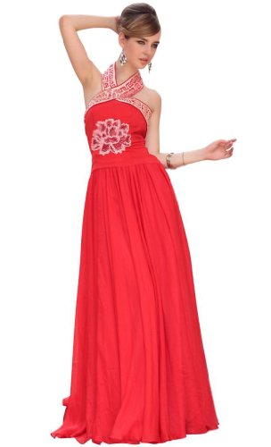 Kingmalls Womens wedding dress Laser elegant floor length off shoulder halter dark red Gowns Party Dresses