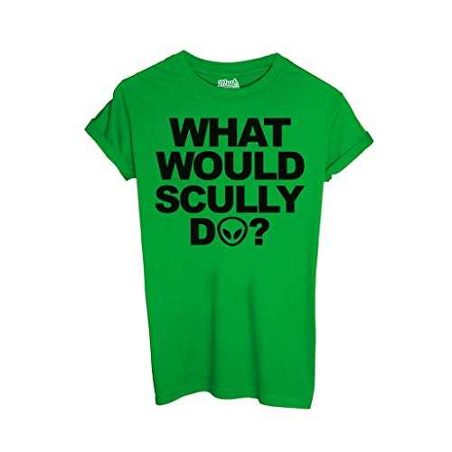 T-Shirt WHAT WOULD SKULLY DO X-FILES - FILM by iMage Dress Your Style - Donna-XL-VERDE PRATO