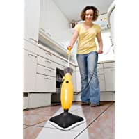 Wolf 900W 360 Degree Lightweight Steam Mop Upright Cleaner - Complete with 1 Micro Fibre Cloth & 1 Coral Cleaning Cloth - Hygienic H2O Cleanliness without Chemicals! Ideal for Hard Floor, PVC, Bathroom & Kitchen Tiles, Laminate, Carpet and Rugs