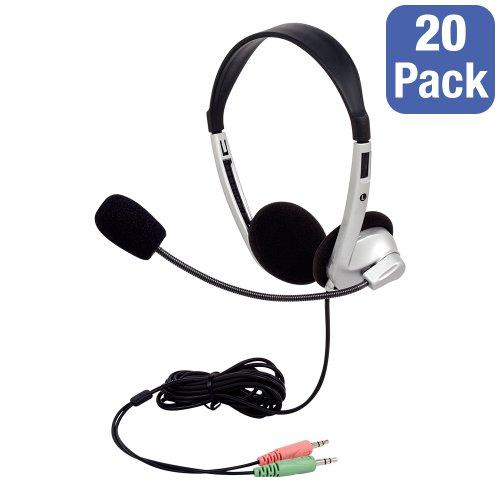 Pack Of 20 Stereo School Headphones W/ Boom Microphone
