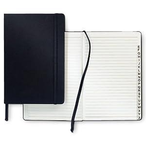 Relaxdays Adressbuch DIN A5 Hardcover schwarz mit Verschlussband, Falttasche und Register