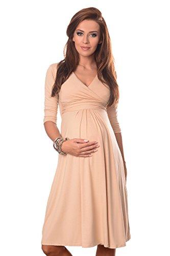 Purpless Maternity Herrlich V-Ausschnitt Kleid Mutterschaft Kleidung Top 4400 (40 (UK 12), Beige)