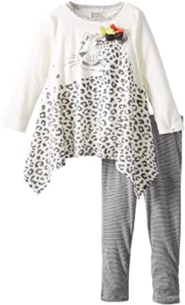 Petit Lem Baby Girls' Wild Revolution 2 Piece Set, White Leopard, 18 Months
