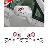 2X Hello Kitty Beard Bow Graphics Auto Car Truck Mirror Decor Stickers Decals BP