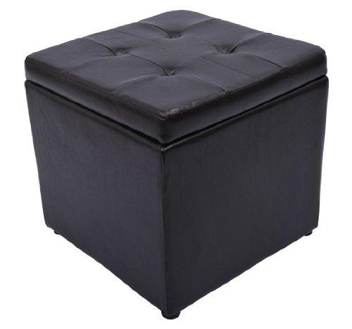 HomCom Faux Leather Storage Ottoman / Foot Stool - Dark Brown