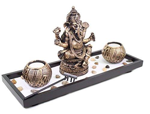 Elephant Ganesha Zen Garden Sand Rocks Candle Holder Home Decor Relaxing Gift