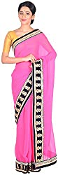 Sree Howrah Stores Women's Synthetic Saree with Blouse Piece (Pink)