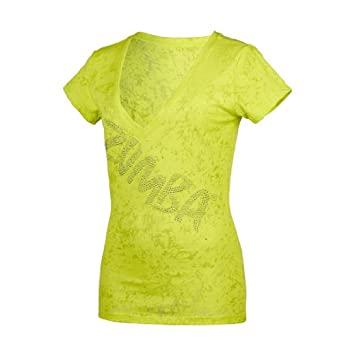 zumba fitness uk glam v neck tee x small lime punch at amazon women s clothing store. Black Bedroom Furniture Sets. Home Design Ideas