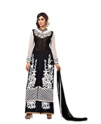 Amyra Women's Georgette Dress Material (AC837-08, Black)