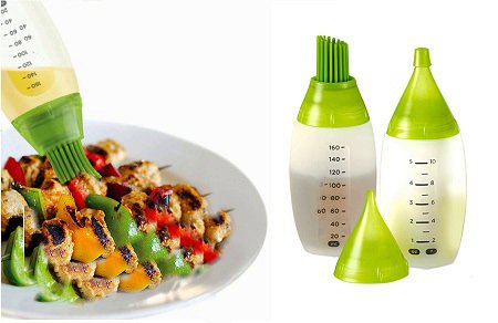 Purchase The Ultimate Chefs BBQ Bottle Basting kit And bonus Bottle with Two Size Oil Salad Drizzler...