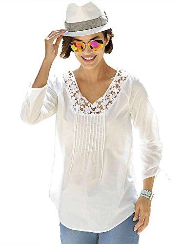 Alba Moda da donna, bianco, elegante e moderno, Look casual con punte al collo bianco 38