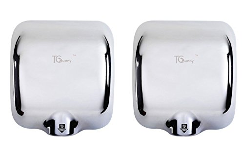 TCBunny® (2 Pack) Heavy Duty Commercial 1800 Watts High Speed 90m/s Automatic Hot Hand Dryer - Stainless Steel