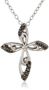 Sterling Silver Black-Diamond Fancy Cross Pendant Necklace