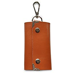 ZYSUN Genuine Leather Key Holder Wallet Slim Compact Key Case Pouch With Six Key Hook(ZYSUN-yaoshibao,zong)