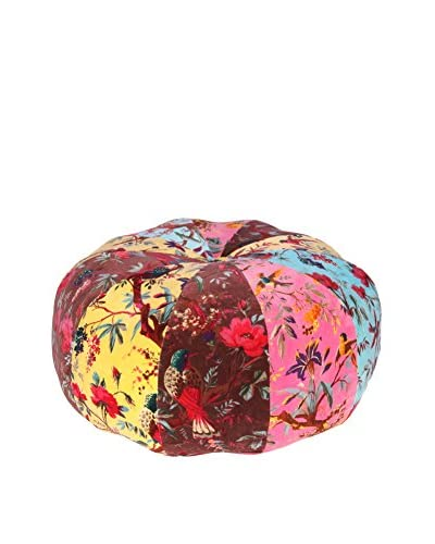Karma Living 26″ Velvet Bird Pouf, Multi