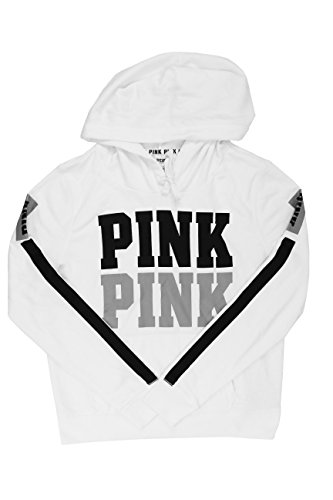 Victoria's Secret PINK White/Black Hoodie Sweater (Large)