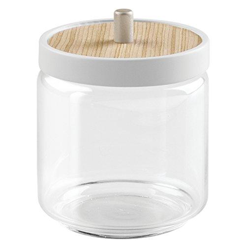 interdesign-90460eu-realwood-glasbehalter-fur-wattebausche-wattepads-keramik-weiss-helles-holz-87-x-
