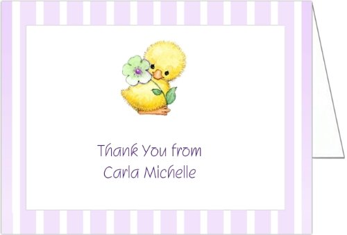 Yellow Ducky on Lilac Baby Thank You Cards - Set of 20