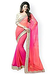 Fashion Pole Chiffon Plain Saree With Blouse Pcs( Tanmay Sarees Collection )