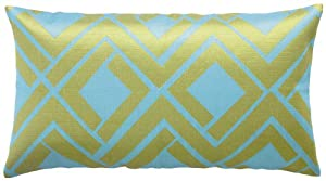 Trina Turk Avenida Maze 26-Inch by 14-Inch Down Filled Pillow, Blue/Lime