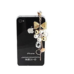 Wisedeal Earphone Jack Accessory Gold Plated Pink Flowers Golden Bow Crystal Golden Beads Pearl / Dust Plug / Ear Jack For Iphone 4 4S / iPad / iPod Touch / Other 3.5mm Ear Jack