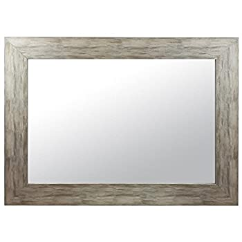 Raphael Rozen - Modern - Classic - Vintage - Hanging Framed Wall Mounted Mirror, Distressed Wood Finish, Gray - White Color