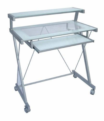 Buy Low Price Comfortable Frame Glass Computer Cart (Frost White & Silver) (37″H x 31.5″W x 20″D) (B003S9UVSQ)