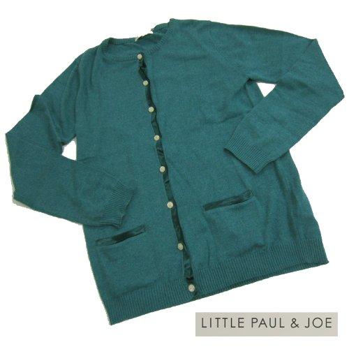 リトルポールアンドジョー little paul&joe/サテン テープ カーディガン レディース 16Y リトル ポール&ジョー ポールアンドジョー LITTLE PAUL&JOE 猫 レディース カーディガン ブルー 16Y(約160cm)