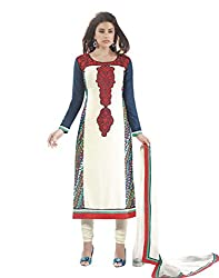 IndiWeaves Women Cotton Embroidered Green Salwar Suit Dress Material