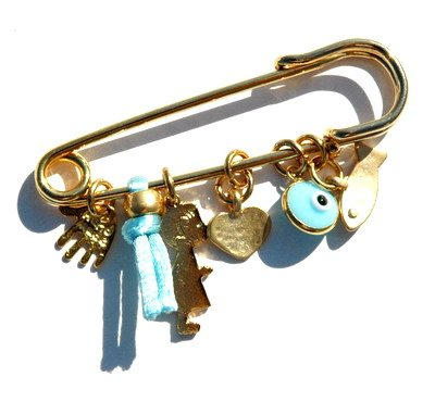 Golden Baby Boy Pin With Multiple Protection Charms In Baby Blue front-636758