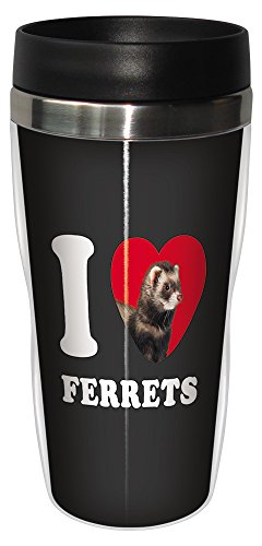 Tree-Free Greetings SG25049 I Heart Ferrets Sip 'N Go Stainless Lined Travel Tumbler, 16-Ounce, Black, Tan and White