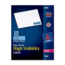 Avery 5980 Laser labels, rectangle, 1 x 2-5/8, pastel blue , 750/pack