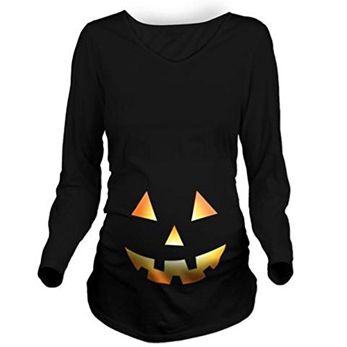 Pumpkin Face Halloween Long Sleeve Maternity T-Shirt