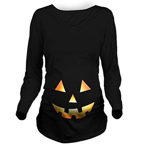 Pumpkin Face Halloween Long Sleeve Maternity T-Shirt