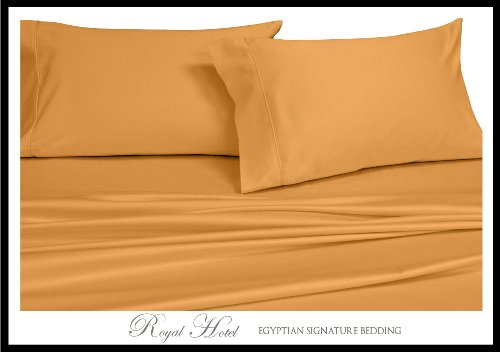 Queen Gold Silky Soft Sheets 100% Viscose From Bamboo Sheet Set front-587005