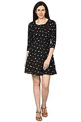 Honey by Pantaloons Women's Skater Dress ( 205000005620350, Black, Large)