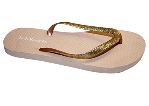 Womens Flip Flop With Glitter Straps And Comportable Footbed, Cool Looking Style-Light_Brown_6
