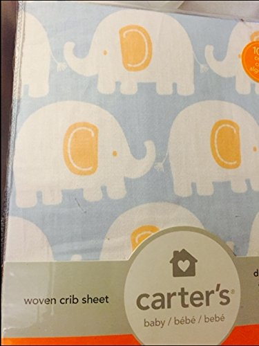 Carter's Fitted Sheet, Elephant /Powder Blue - 1