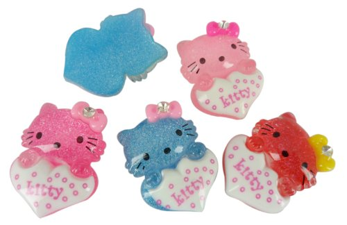 Resin Hello Kitty Heart Gem Flatbacks Scrapbooking Embellishments Supplies Trim Craft Cabochon Appliques Hair Alligator Clips (Hello Kitty Flatback Resins compare prices)