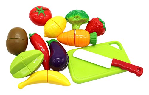 Little Treasures Kids Play Cutting Fruits and Vegies Toy Set Pretend Food Playset Fruit Pieces to be Sliced up with Knife and Cutting Board, Multicolored, 12 Piece (Cutting Appliances compare prices)
