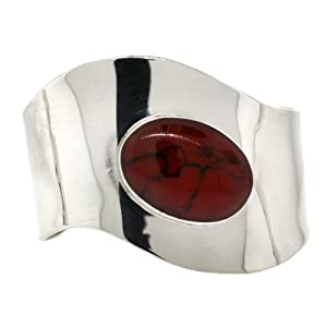 Sterling Silver and Red Jasper Inlay Cuff Bracelet
