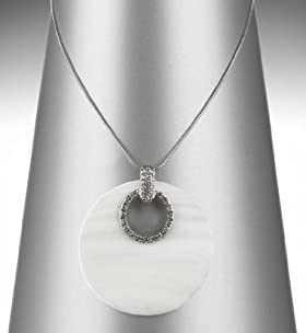 Shell Disc Pendant Diamanté Necklace