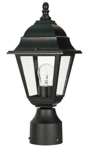 Nuvo 60/548 Textured Post Lantern with Clear Glass, Textured Black