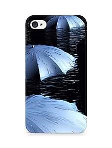AMEZ designer printed 3d premium high quality back case cover for Apple iPhone 4s (black grey umbrella)