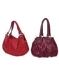 Arc HnH Women Combo Handbag Pretty Pink + Palatial Red
