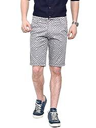 Showoff Men's Grey Slim Fit Printed Casual Chino Shorts